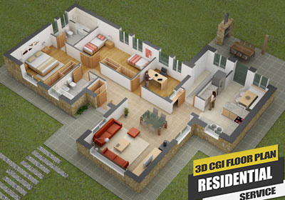 3D Virtual CGI Design Floor Plan