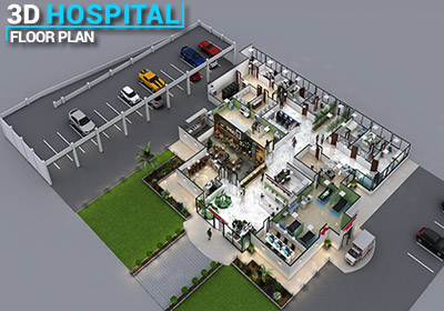 3d hospital floor plan layout design