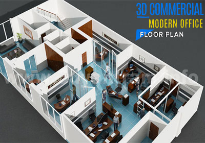 3D Interactive Office Floor Plan