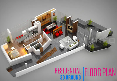 3D Interactive Residential Ground Floor Plan