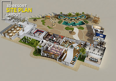3d resort site plan layout concept design