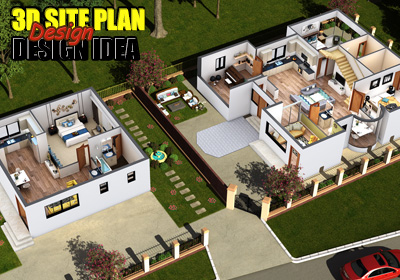 3D Site Floor Plan Rendering Design
