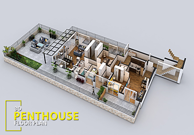 3d floor plan design for modern home