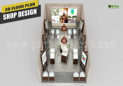 Top View of 3D Floor Plan Design for Jewelery shop