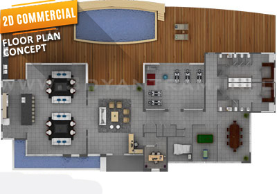 2D Commercial Floor Plan CGI Design