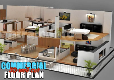 3D Commercial Cut Off Wall Virtual Floor Plan