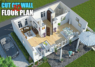 Cut Off Wall Interactive 3D Floor Plan