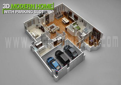 floor plan for 3d Modern home with parking slot,Vietnam