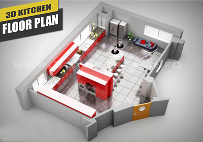 3D Kitchen Virtual Floor Plan Design