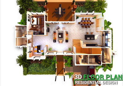 Top View 3D Virtual Floor Plan Design